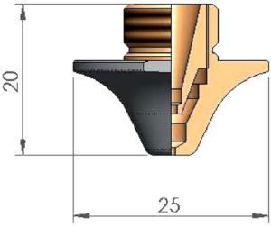Двойное сопло Ø D2.5E CP ECO CUT