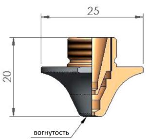 Двойное сопло Ø D1.4 CP вогнутое