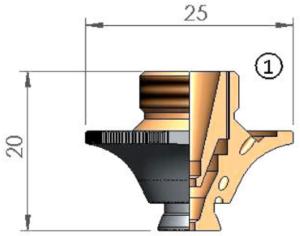 Двойное сопло Ø D2.5W CP WACS с кольцом с проточкой