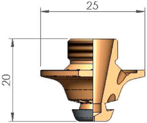 Сопло Ø S1.2 FE  FIBER CP с кольцом с проточкой