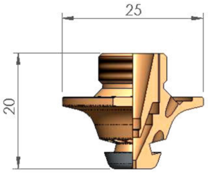 Двойное сопло Ø D1.5 FE  FIBER CP с кольцом с проточкой