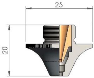 Двойное сопло Ø D2.5CC CP для чистой резки