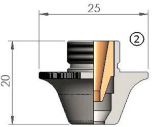 Двойное сопло Ø D5.0CC CP для чистой резки