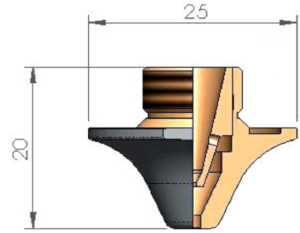 Двойное сопло Ø D2.0F CP