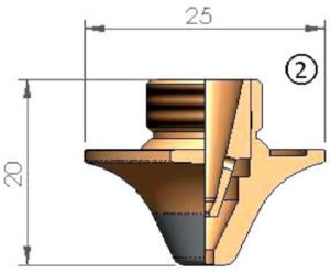 Двойное сопло Ø D2.5F CP